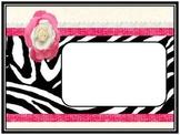 Black and Pink Zebra Print Horizontal PDF Files for Binder