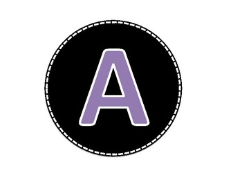 Black and Purple Colored Alphabet Uppercase Letters and Numbers (1-40)