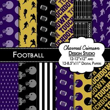 Black and Purple Football Digital Paper 1417