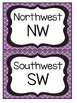 Black and Purple Quatrefoil Cardinal Direction Cards