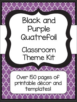 Black and Purple Quatrefoil Classroom Theme Kit- Now with