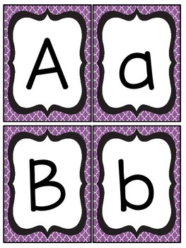 Black and Purple Quatrefoil Number and Letter Cards