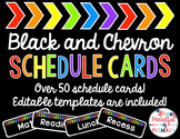 Black and Rainbow CHEVRON Schedule Cards - EDITABLE