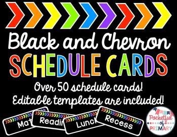 Black and Rainbow CHEVRON Schedule Cards - EDITABLE