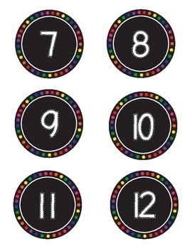 Black and Rainbow Circle Numbers 1-30