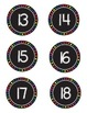 Black and Rainbow Circle Numbers 1-30