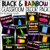 Black and Rainbow Classroom Decor Bundle