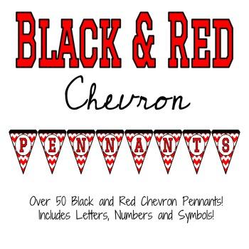 Black and Red Chevron Pennants (Black Frame)