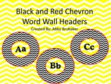 Black and Red Chevron Word Wall Headers