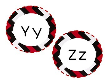 Black and Red Chevron Word Wall Letters