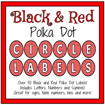 Black and Red Circle Labels