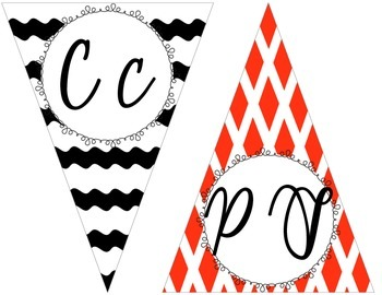 Black and Red Cursive Alphabet Pennant Banner