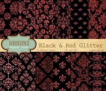 Black and Red Glitter Victorian Damask Digital Paper Backgrounds
