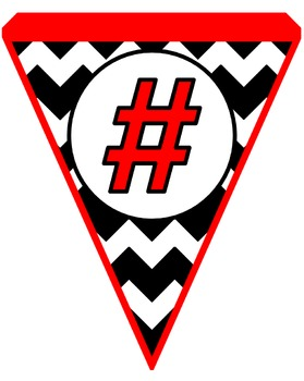 Black and Red Chevron Pennants (Red Frame)