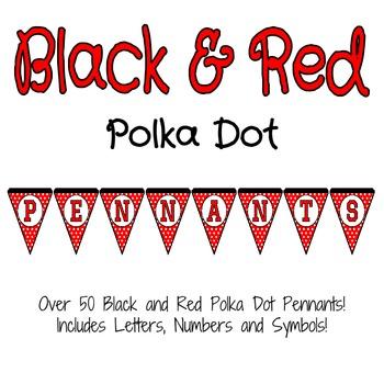 Black and Red Polka Dot Pennants