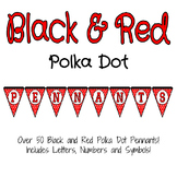 Black and Red Polka Dot Pennants