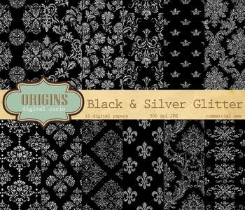 Black and Silver Glitter Digital Paper Damask Backgrounds