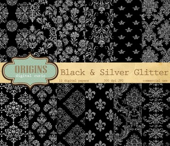 Black and Silver Glitter Digital Paper Damask Backgrounds