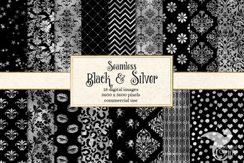 Black and Silver digital paper, seamless silver foil textures and patterns