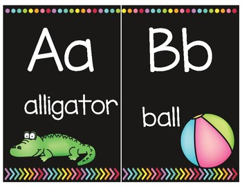 Black and Soft Bright Alphabet Half Posters