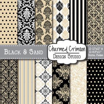 Black and Tan Damask Digital Paper 1386