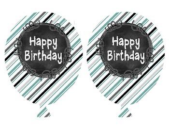 Black and Teal Chalkboard Birthday Balloons FREEBIE