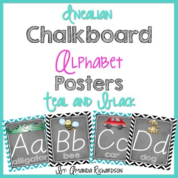 Black and Teal Chalkboard Classroom Alphabet