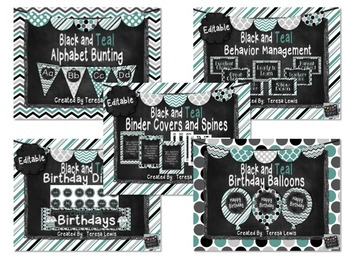 Black and Teal Chalkboard Decor Set