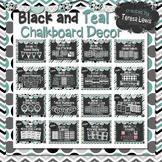 Black and Teal Chalkboard Decor Set