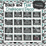 Black and Teal Chalkboard Decor Bundle