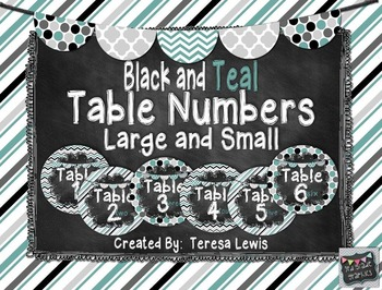Black and Teal Chalkboard Table Numbers FREEBIE