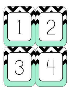 Black and Teal Chevron Classroom Decor