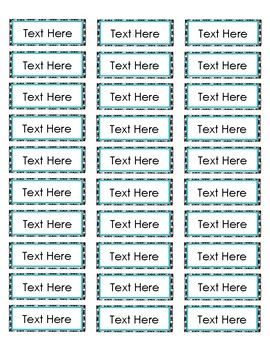 Black and Teal Labels (Editable)