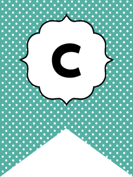 Black and Teal Polka Dots Welcome Bunting. Printable Classroom Accessories.