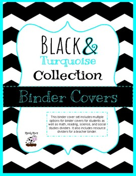 Black and Turquoise Binder Covers