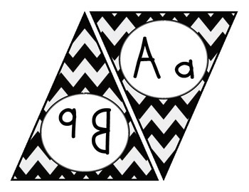 Black and Turquoise Chevron Alphabet Bunting