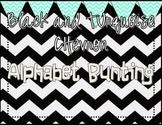 Black and Turquoise Chevron Alphabet Bunting