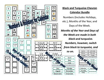 Black and Turquoise Chevron Calendar + Months of the Year & Days of the Week
