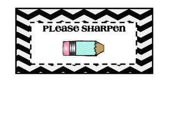 Black and Turquoise Chevron Pencil Holder Lables