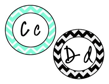 Black and Turquoise Chevron Word Wall Letters
