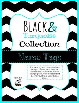 Black and Turquoise Desk Name Tags