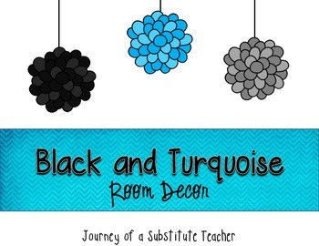 Black and Turquoise  Room Decor Pack