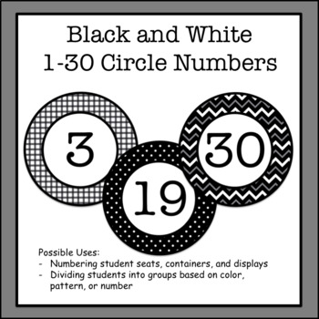 Black and White 1-30 Circle Labels