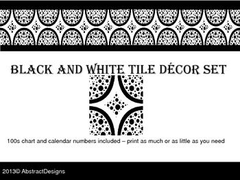 Black and White 100's Chart and Calendar Numbers