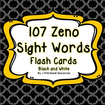 Black and White 107 Zeno Sight Word Cards