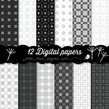 Black and White - 12 Digital Papers