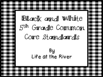Black and White 5th Grade I Can Statements