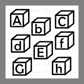Black and White Alphabet Blocks Clip Art Clipart