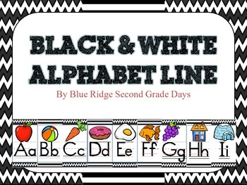Black and White Alphabet Line With Pictures