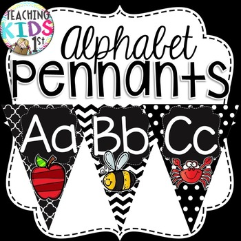 Black and White Alphabet Pennant Banner with Pictures